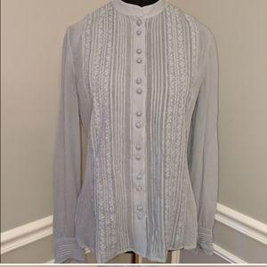 Ann Taylor Gray Sheer Blouse Shirt Top Size 2